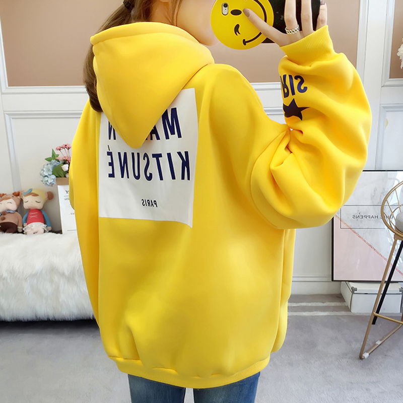 Women Hoodies Sweatshirt 2019 New Korean Warm Long Sleeve Hooded Tops Female Cute Letter Print Plus Velvet Loose Hoodie