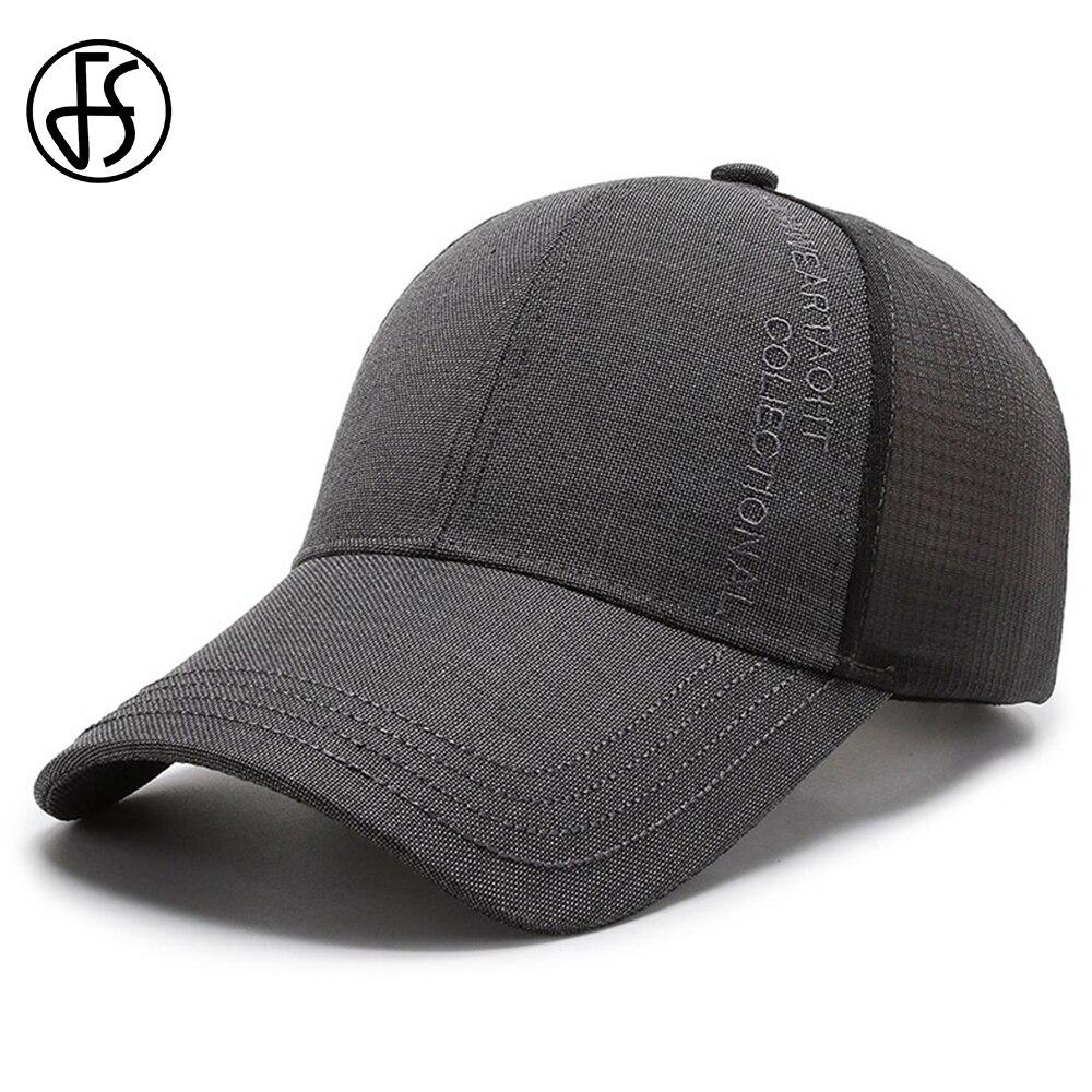 FS 2021 New Summer Baseball Cap Gray Long Brim Sunscreen Men Hat Fashion Trucker Caps With Mesh Mature Dad Hat Gorras Hombre