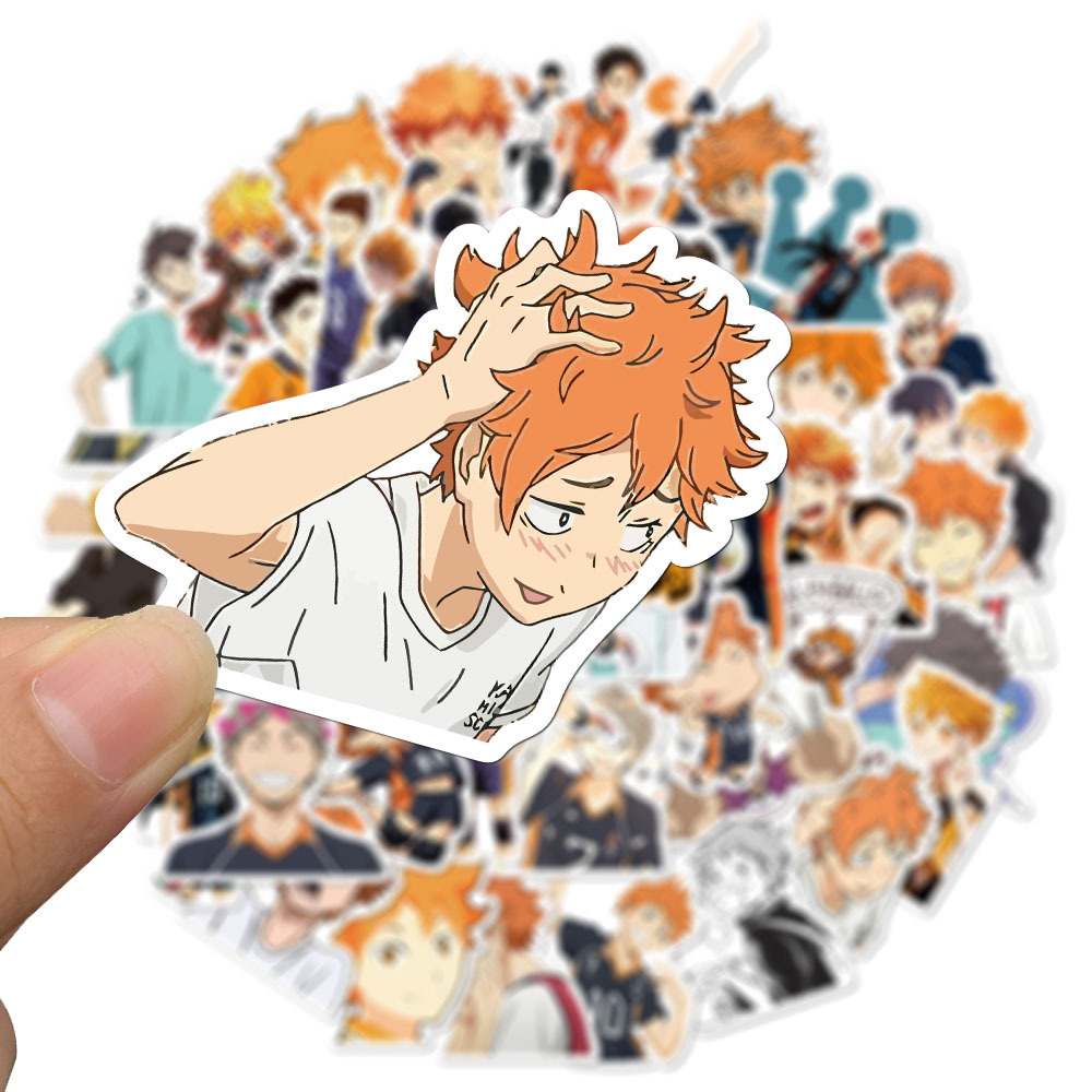 52Pcs/Set Haikyuu!! Stickers Japanese Anime Sticker Volleyball For Decal On Guitar Suitcase Laptop Phone Fridge Motorcycle Car
