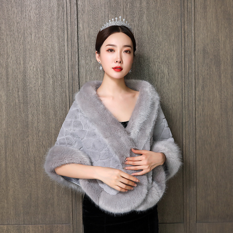 Women Bolero Wedding Shawl Imitation Fox Shawl Female Winter Marriage Gauze Large Code Printing Qipao To Keep Warm The New 2020