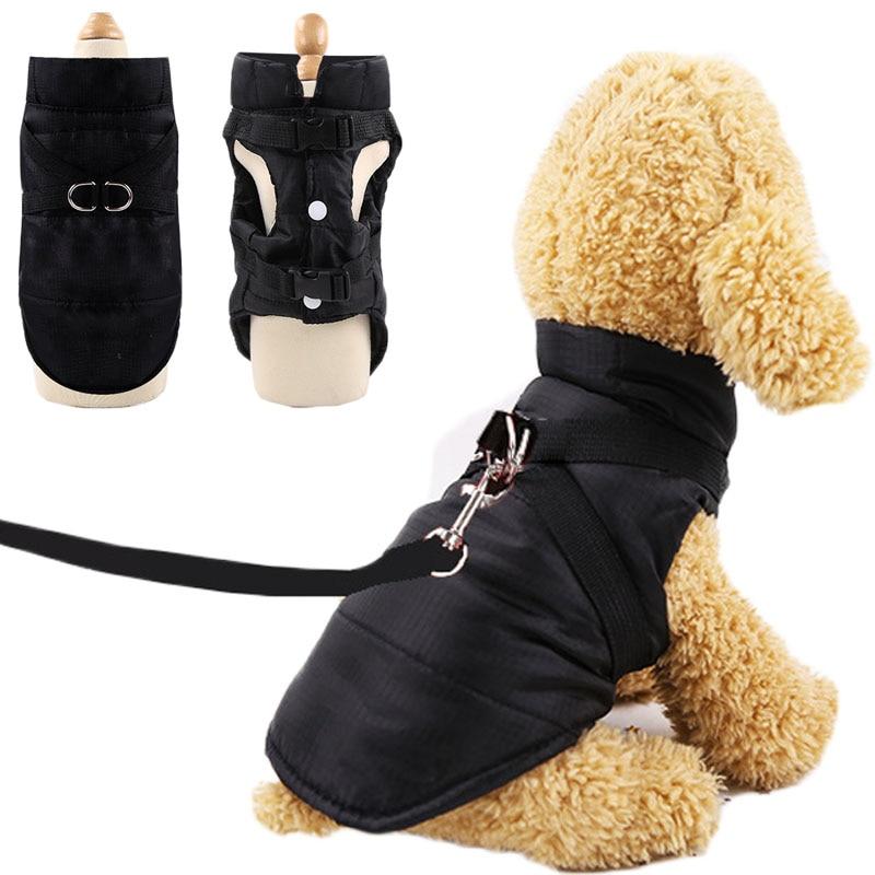 Красная, черная одежда для собак, теплая куртка с подкладкой, водонепроницаемый жилет для щенков и кошек, зимняя куртка для собак, одежда для...
