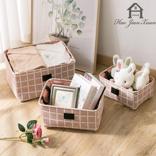 New Folding linen Fabric Storage Basket Bins Cube Containers With Handles For Toys Organizers Closet And Office Organizers(China)