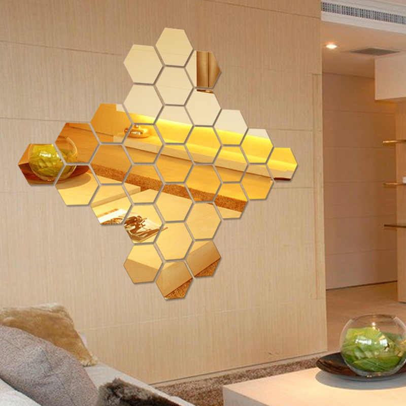 Hexagon 3D Acrylic Mirror DIY Wall Home Decal Mural Decor Vinyl Art Stickers