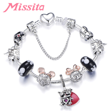 MISSITA Cute Mickey Series Bracelets with Lovely Sweet Red Heart Charm Chain Brand Bracelet for Women Girl party Gift