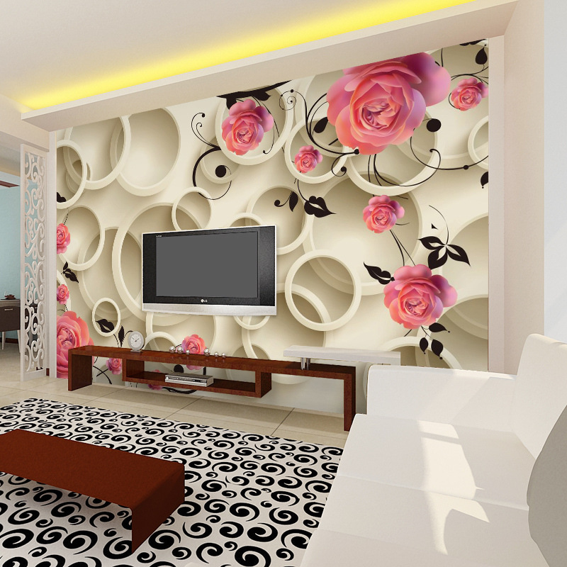 8d Stereo TV Backdrop Film And Television Wall Paper Relief Non-woven Mural Rose Wallpaper Wall Cloth