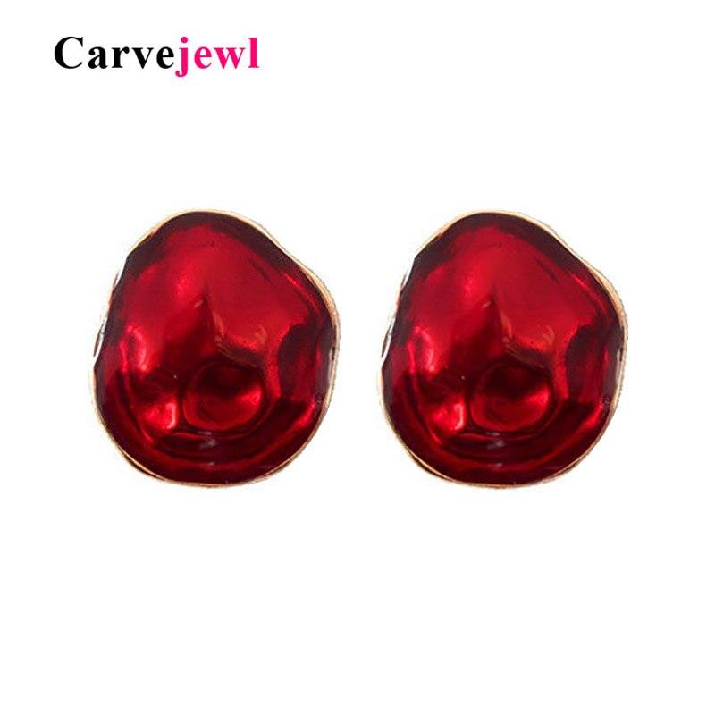 Carvejewl Hand Painted Big Transparent Enamel Stud Earrings For Women Jewelry Dark Red Green Simple Irregular Geometric Earring