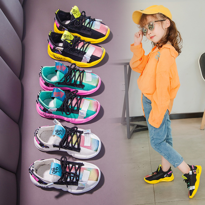 Children Sneakers 2019 Autumn Girl Shoe Student Soft Casual Shoes Colorful Printed White Sneaker Cute Flats For Girls Size 25-36