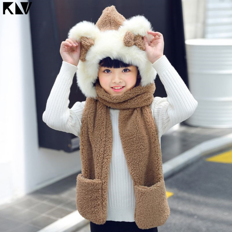 KLV Kids 3 In 1 Warm Plush Winter Hat Cute Bowknot Bear Ears Scarf Gloves Hoodie Cap
