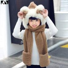 KLV Kids 3 In 1 Warm Plush Winter Hat Cute Bowknot Bear Ears Scarf Gloves Hoodie Cap