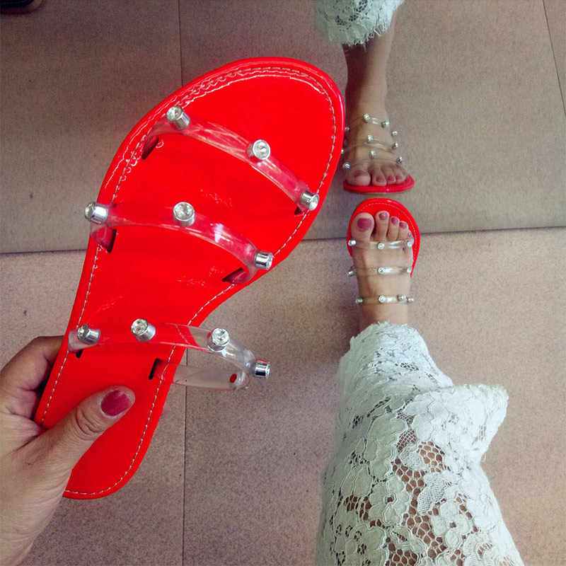 Frauen Sommer Kristall Transparent Nähen Mode Hausschuhe Frau Fluorescent Grün Flache Weibliche Strand Dias Damen Pv Sexy Schuhe