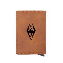 Clássico skyrim símbolo titular do cartão de crédito carteira masculina feminina couro do plutônio pequena bolsa curta