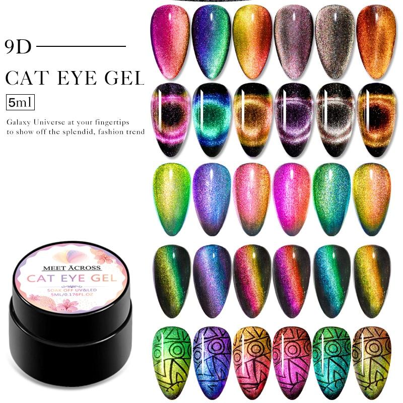 MEET ACROSS 9D Chameleon Magnetic Cat Eye Nail Gel Polish Shiny  Laser Magnet Nail Art Lacquer Soak Off  UV LED Gel Varnish