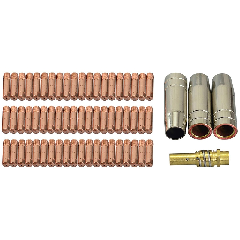 64Pcs MB15 Contact Tip Gas Nozzle Tip Holder for 15AK Co2 MIG  Welding Torch 0.8mm Welding Torch Consumables