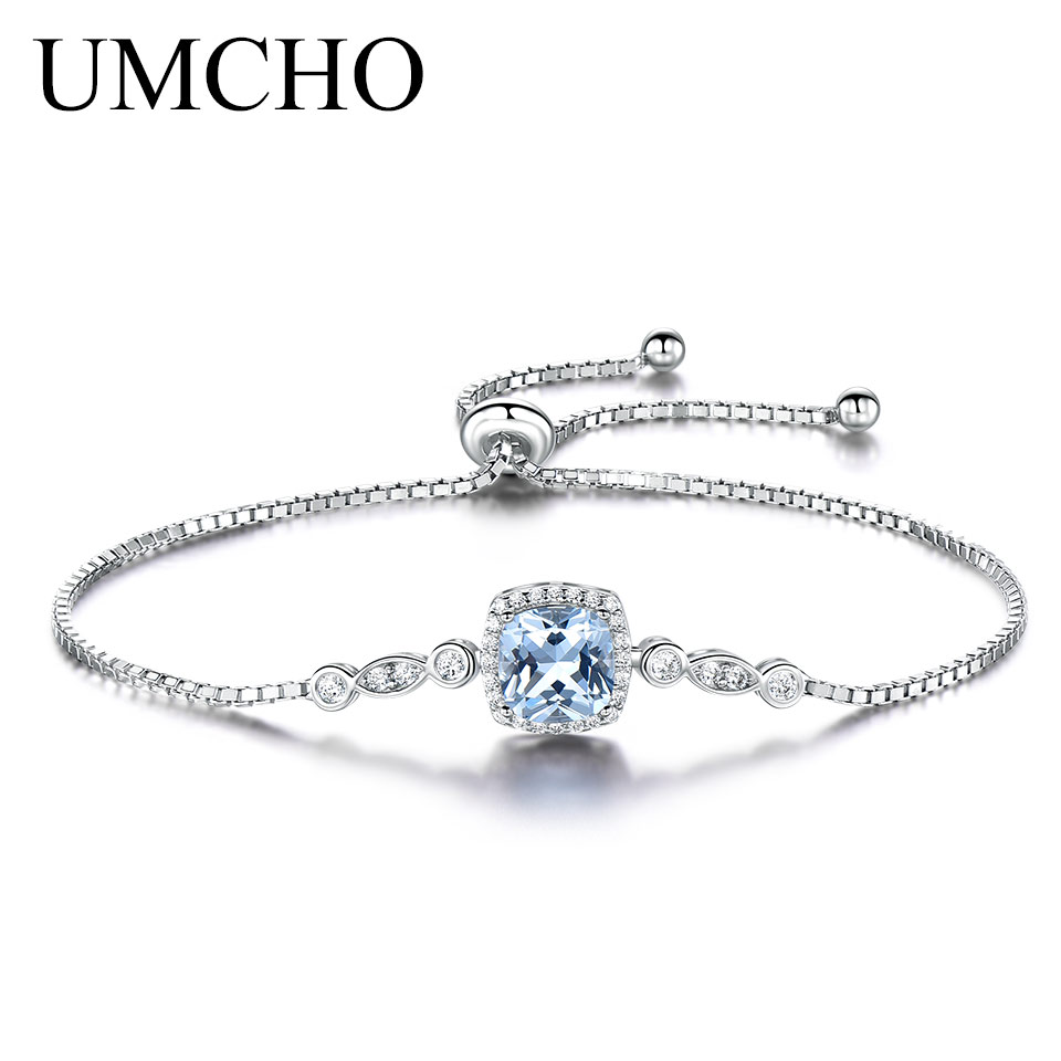 UMCHO Nano Aquamarine Bracelets For Women Solid 925 Sterling Silver Gemstone Fine Jewelry
