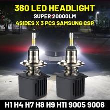 6000K H4 Led 360 H7 H8 H9 H11 20000Lm H1 Hb3 9005 아이스 전구 Hb4 9006 모토 자동차 램프 삼성 Csp 12V Bullvision 120W