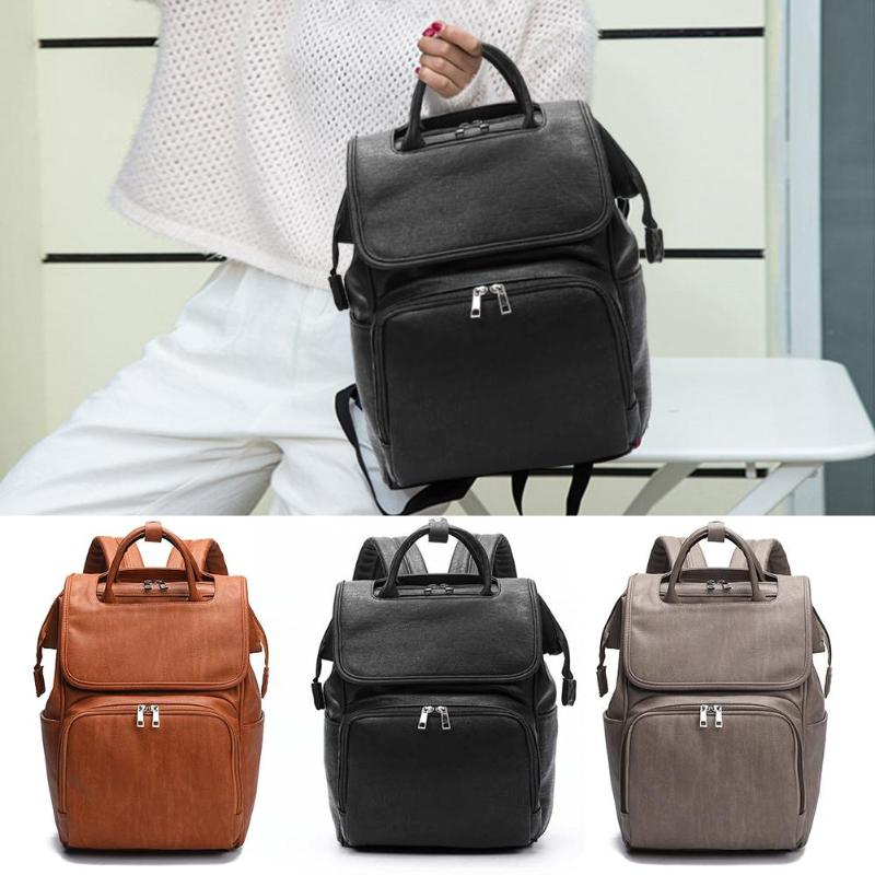 Trendy Maternity Bag PU Leather High-quality Convenient High-capacity Backpacks Baby Diaper Changing Pad Stroller Rucksack