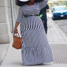 Большие размеры 4XL повседневное Полосатое Длинное Платье женское осеннее платье с рюшами Vestido Женские макси платья Африканский женский халат Femme Vestiods
