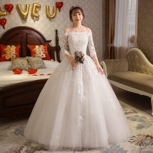 Image 3 - หรูหรายาวชุดแต่งงาน 2020 ครึ่งแขนเสื้อลูกไม้ปิดไหล่ Elegant งานแต่งงานชุดเจ้าสาว VINTAGE Vestido De Noiva