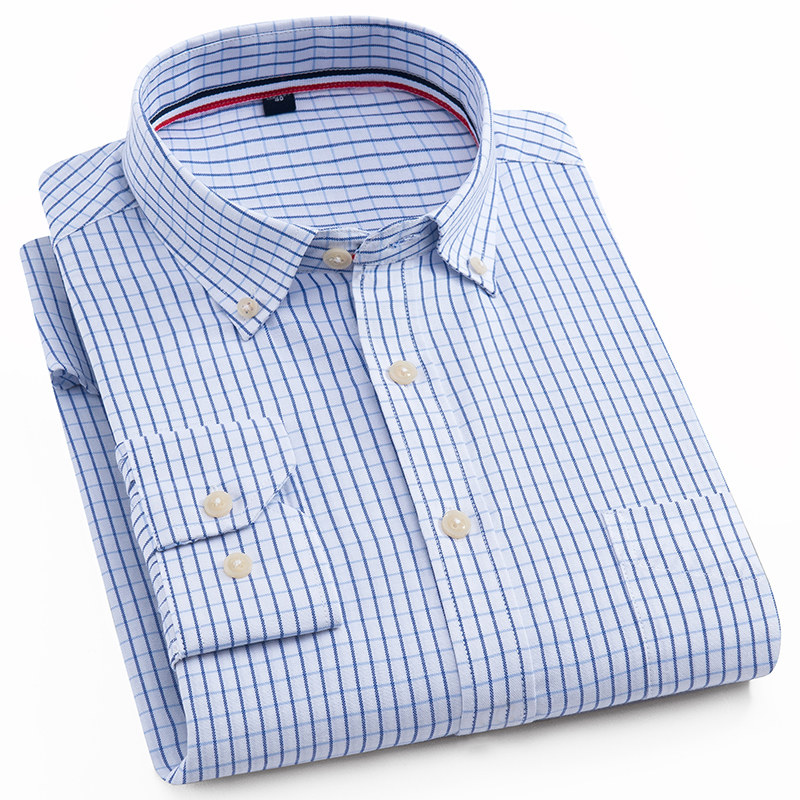 Men's Long-Sleeve Oxford Plaid Checkered Shirts Single Patch Pocket Casual Thick Standard-fit Gingham Button-collar Tops Shirt