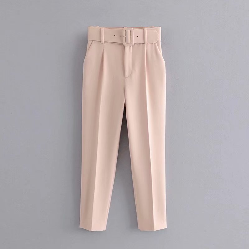 H0e87f8851328480f8408b5b6eb290fdb0 - Office Lady Black Suit Pants With Belt Women High Waist Solid Long Trousers Fashion Pockets Pantalones FICUSRONG Pencil