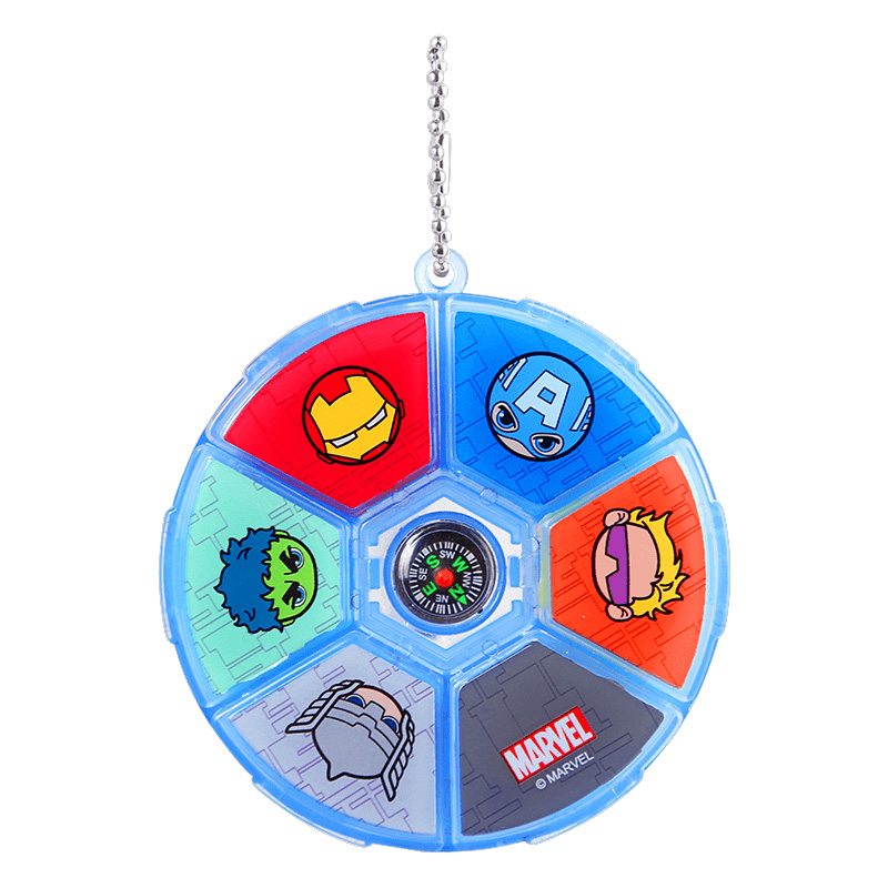 Marvel Round Box Cartoon Eraser Captain America Iron Man With Compass Stationery Student School Supplies Boy Gift