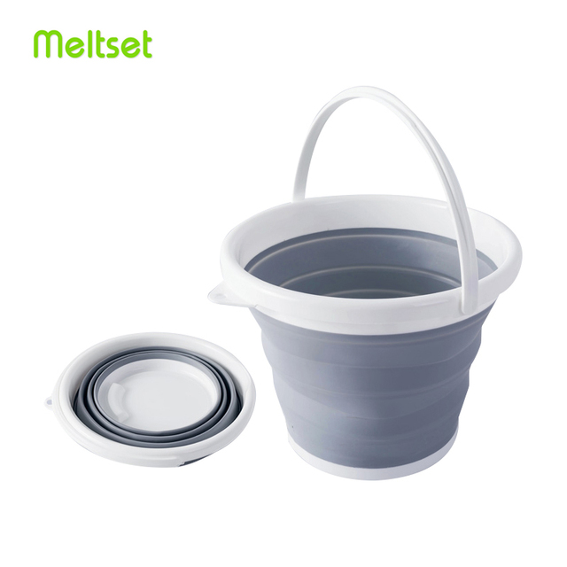 10L Portable Folding Bucket Outdoor Fishing Tourism Camping Supplies Foldable Buckets Car/ Mop Washing Cleaning Household Items