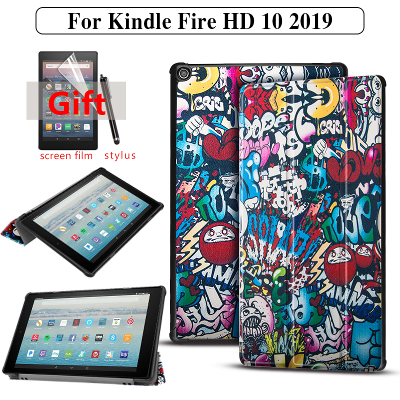 Tablet Case for Amazon <font><b>Kindle</b></font> Fire HD <font><b>10</b></font> 9th Generation <font><b>2019</b></font> Case <font><b>Cover</b></font> for <font><b>Kindle</b></font> Fire HD <font><b>10</b></font> <font><b>2019</b></font> funda Capa + film image
