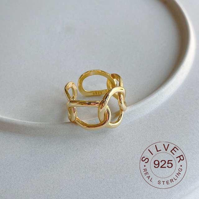 925 Sterling Silver Irregular Openwork Oval Rings Minimalist Elegant Geometric Rings For Women 2020 Japan Jewelry Gift