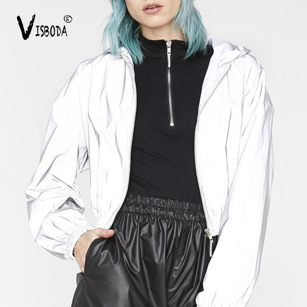 Women Loose Cropped Hoodies Ins Reflection Coat Fashion 2019 Autumn Female Zipper Pullover Long Sleeve Hooded Coat Veste Femme