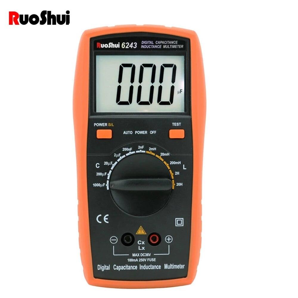 RuoShui-multímetro Digital Ture RMS 6243 AC/DC, medidor de temperatura de corriente de voltaje NCV Ohm, probador de capacitancia de resistencia de diodo de frecuencia
