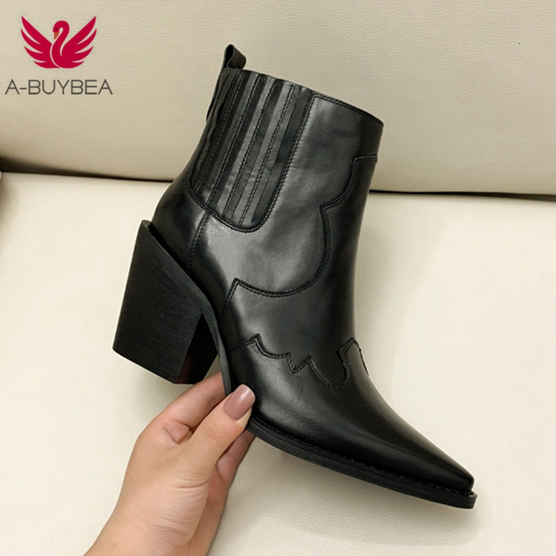 Leather   Boots Women Genuine Pointed Toe Mid Heel Ankle Boots Thick Square Heel Slip On Western Boots Cowboy Boots Women 2019 New