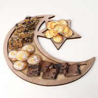 Decoraciones Ramadán Luna estrella colgante de madera EID Mubarak decoración para el hogar, el Islam musulmán evento Fiesta de Eid Al-Fitr Decoración