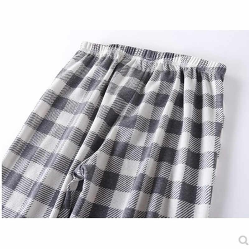 남성용 잠옷 코튼 와플 풀오버 파자마 세트