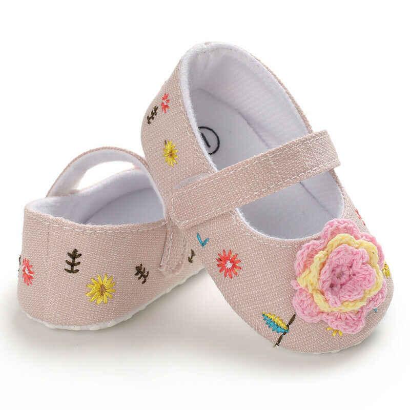 Niños bebé niñas zapatos flor niño pequeño Sandle suave cuna botas negro marrón Rosa 0-18M
