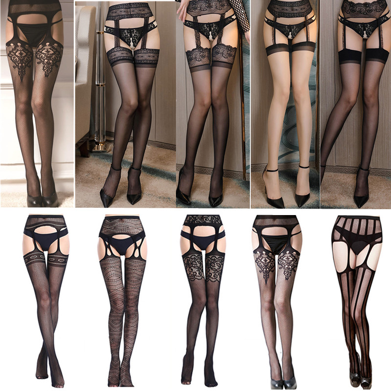 Sexy Lace Stockings Women Erotic Transparent Fishnet Stockings Over Knee Hollow Out Pantyhose Suspender Thigh High Stockings