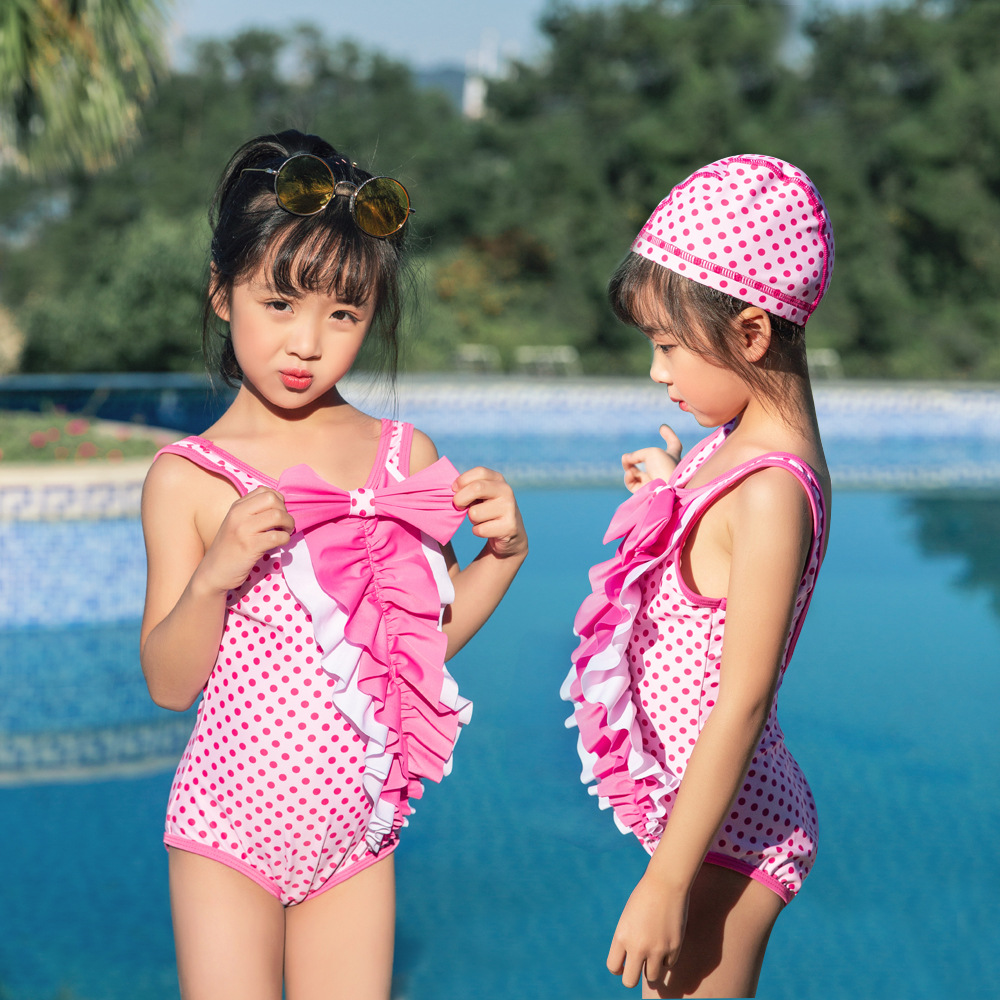 19 New Style One-piece Swimming Suit Send Swimming Cap Bow Dots Backless Hot Springs Hipster Sweet Girls KID'S Swimwear