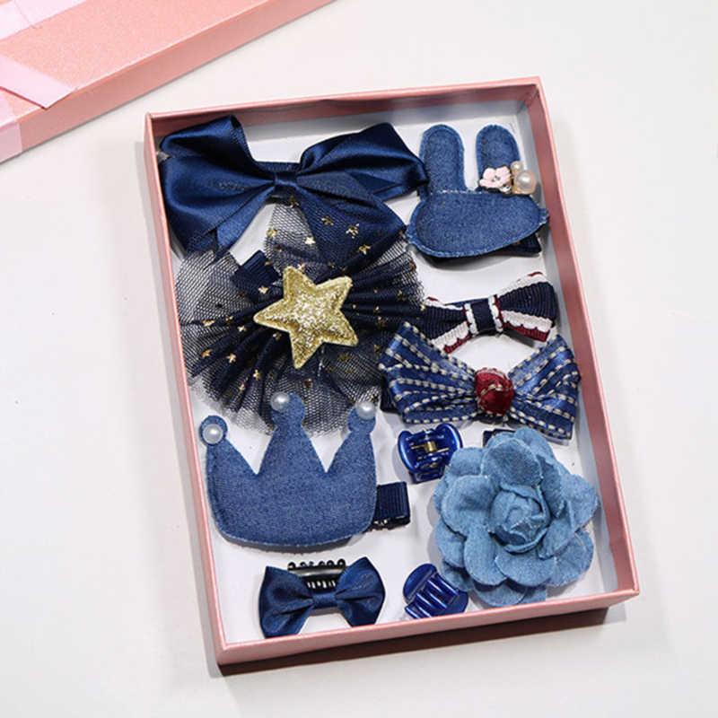 10 יח'\קופסא חדש ילדי ילדי אביזרי סיכות סיכות תינוק בד קשת פרח סיכות כובעי בנות כיסוי ראש