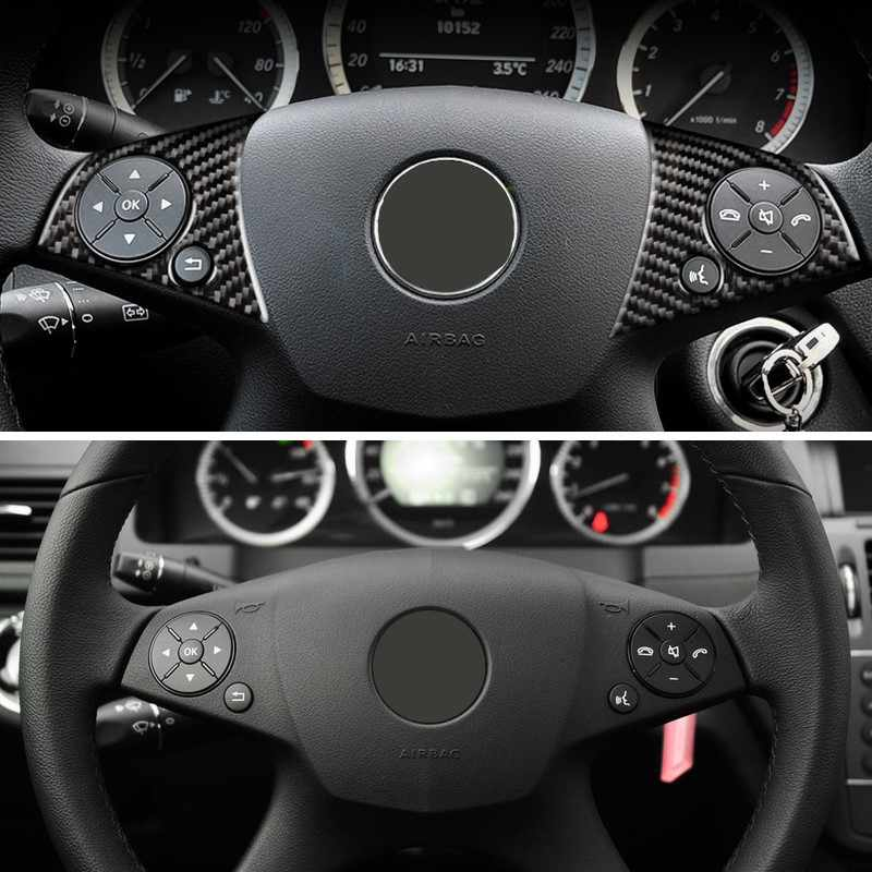 Carbon Fiber Car Steering Wheel Panel Switch Button Sticker Trim For Mercedes Benz C Class W204 2007 2008 2009 2010