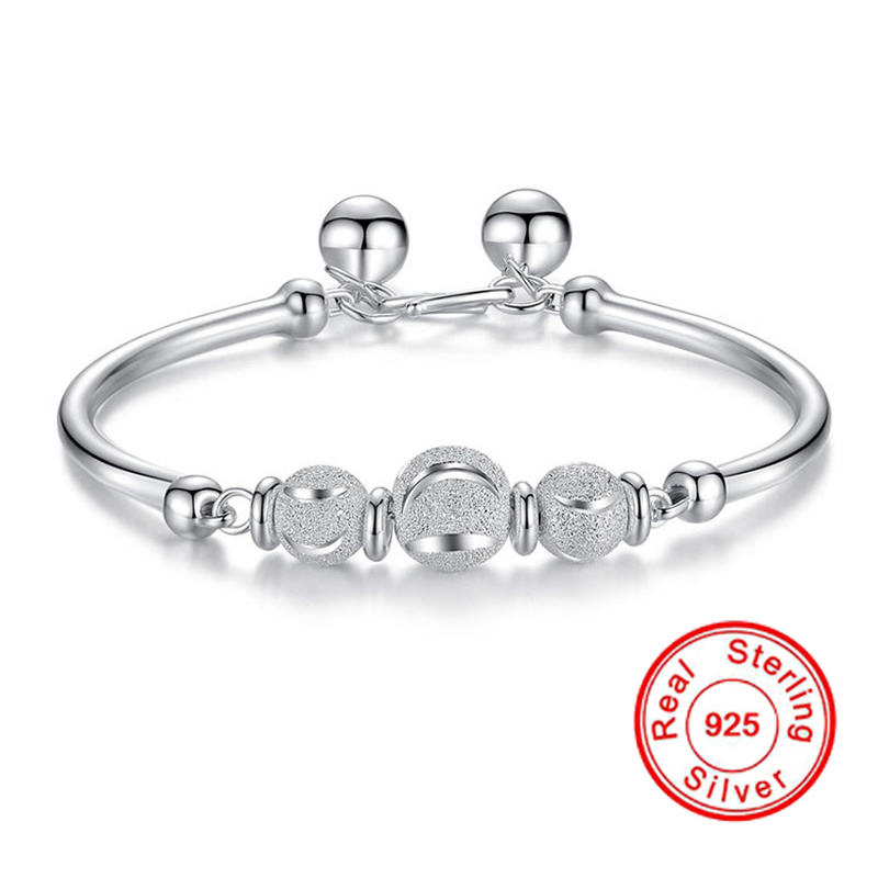 Chinese Traditional 925 Sterling silver Bracelet For Women Lucky Bead Crescent Silver 925 Fine Jewelry Bracelets Birthday Gifts