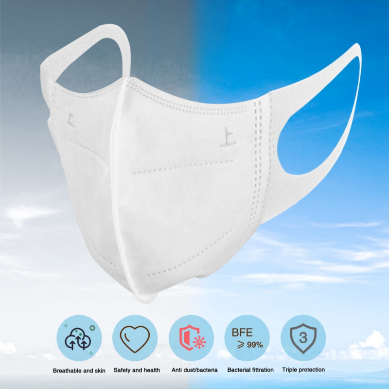 50PCS / Box Disposable 3D Daily Protective Mask Popular 3 Layer Nonwoven Filter Cotton Elastic Ear Hook Activated Carbon Filter