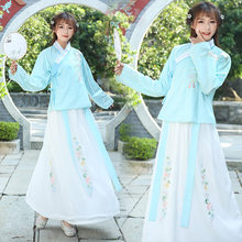 new original daily improvement of hanfu women pay collar waist Ru skirt elements of han Chinese wind suit chiffon dress(China)