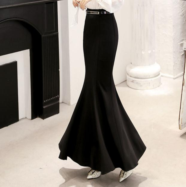 Women Long Skirts High Waist Vintage Office Lady Mermaid Skirt Ruffle Plus Size Fishtail Saias Spring Autumn Maxi Skirt K1239