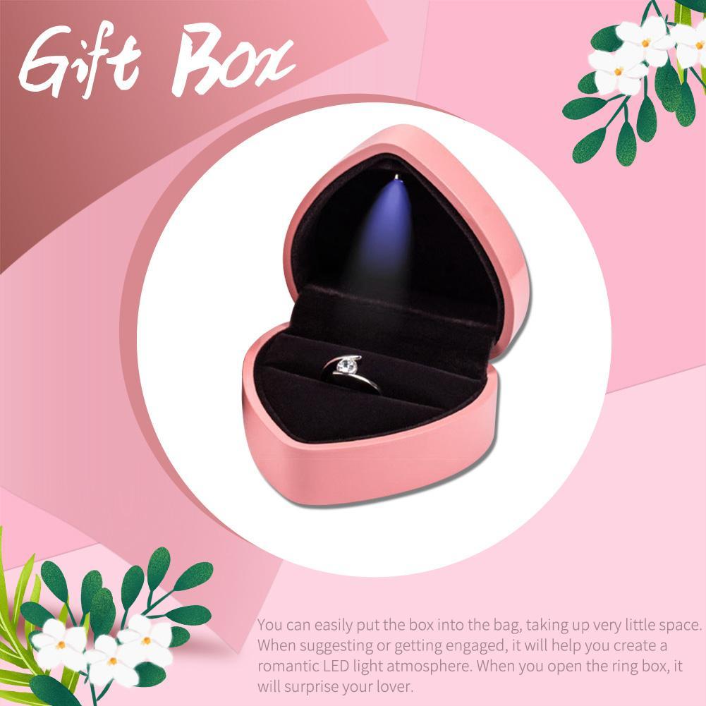 Jewelry Marriage Proposal Holder Display LED Light Heart Shape Wedding Ring Box Storage Organizer For Wedding Ring