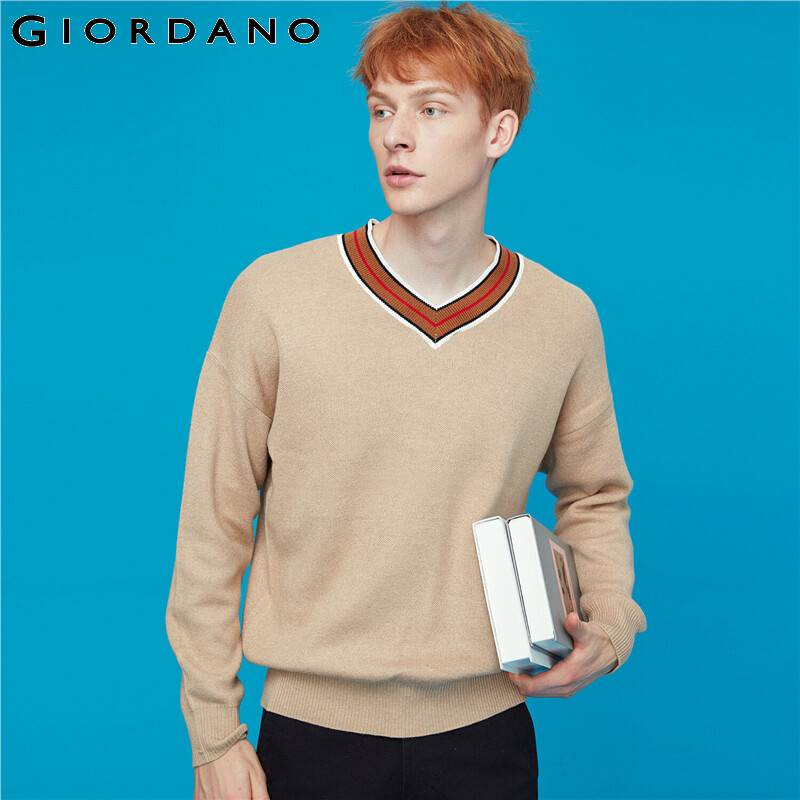 Giordano Men Sweaters Contrast V-neck Knitted Men Pullover Light Warm Ribbed Cuffs And Hem Chompas Para Hombre 13059804