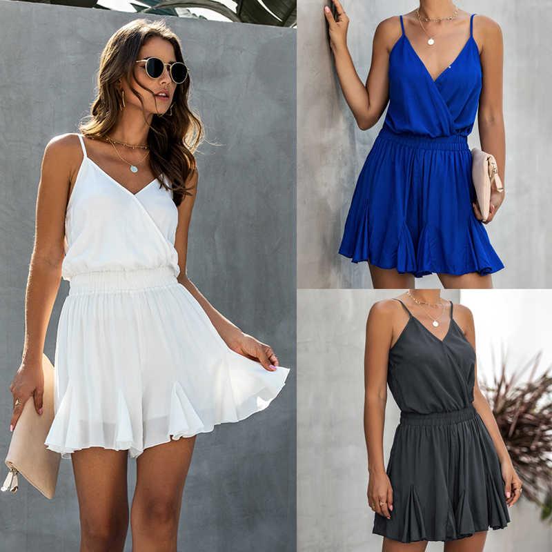 فستان قطن صيفي مثير للنساء من Lossky بدون ظهر وياقة على شكل v فستان صيفي مزموم بأزرار ملابس صغيرة مرنة الخصر 2020