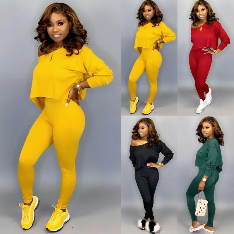 Women 2 Piece Outfits Long Sleeve Off Shoulder Crop Top Pants Set Casual Jumpsuit Autumn Long Sleeve Pure  Legging