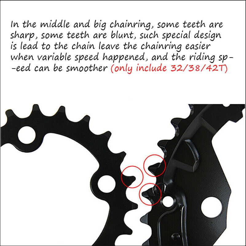 MTB 64BCD Chainring 104BCD 24 T/32 T/42 T Rantai Sepeda 3*10S Triple crankset Aluminium Road Sepeda Gunung Crank Sepeda Bagian