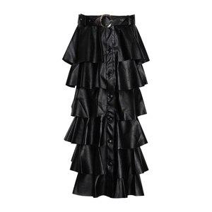 Image 5 - TWOTWINSTYLE שחור עור מפוצל לפרוע נשים של חצאיות גבוהה מותן כפתורים Streetwear נשי חצאית 2020 סתיו אופנה חדש בגדים