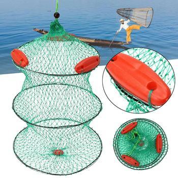 Foldable Nylon Fishing Bait Net Mesh Trap Minnow Crawfish Shrimp Floating Cage