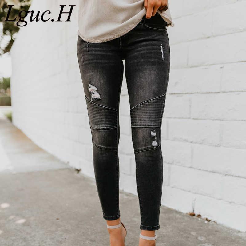 Clasico De Mujer 2021 Vaqueros Push Up Jeans Rasgados Para Damas De La Calle De Moda De Pantalones Moto Mujer Pantalon Vaqueros Mujer Azul Pantalones Vaqueros Aliexpress